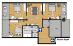 Prague Apartment Wenceslas Square - Apple Room I Floor plan