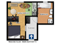 Prague Apartment Wenceslas Square - Studio 712 Floor plan